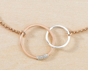 Sterling Silver and Rose Gold Filled Linked Circles on Rose Gold Chain, Pink Gold Mixed Metal Jewelry, Pink & Silver, Dainty Chain Bracelet