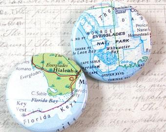 Florida Everglades Map Pinback Button Set