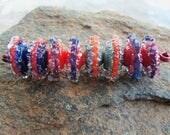 Handmade Lampwork Boro Glass Disc Bead Set - Jewelry Supplies - Rustic Boho Discs - Silverfish Designs