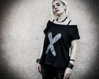 X - Black Oversized Printed maxi t-shirt, Loose Print Top Short sleeves, Industrial Grunge t-shirt with wide neckline Alternative Clothing