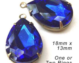 Sapphire Blue Glass Beads - 18x13 Teardrop - Blue Earrings or Pendant Jewels - Rhinestone Glass Gems - Jewelry Supply - One Pair