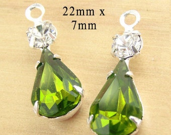 Olivine Green Vintage Glass Beads - Pear or Teardrop in Multi Stone Settings - 22mm x 7mm - Rhinestones - Choose Your Color - One Pair