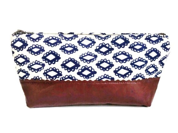 Woodblock Cosmetic Bag, Leather Pouch, Makeup Bag, Women's Toiletry Bag, Leather Clutch