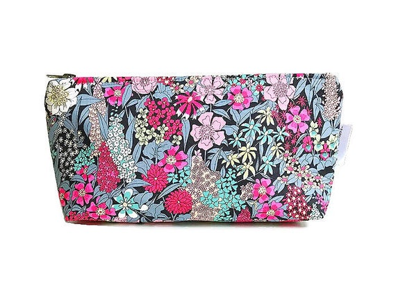 Makeup Organizer Bag, Small Makeup Bag, Liberty of London, Black Cosmetic Bag, Floral Cosmetic Bag, Make up Pouch, Makeup Accessories