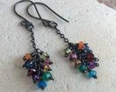 MULTI GEMSTONE earrings, RAINBOW cluster earrings, multi gems on sterling silver chains, oxidized sterling silver
