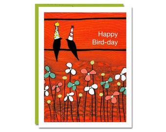 Happy Bird-day Card / Birthday Card / Bird Card / Cute Birthday Card / Blank Card / Rachel Austin Card