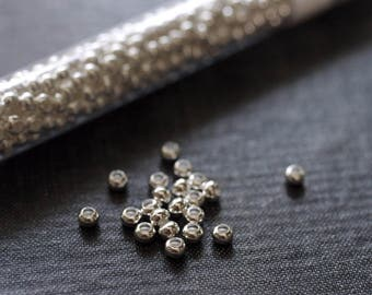6/0 Metal Seed Beads - Silver Plated Seed Beads - 4mm Silver Seed Bead - Full 30g Tube - Metal Spacer Bead - Silver Spacers