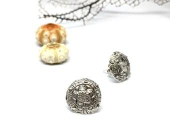 Urchin Mandala Post Earrings in Fine silver
