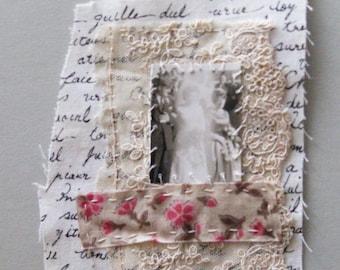 Mini art quilt, hand stitched, vintage photo, The Phantom Bride, textile art patch, stitched bit