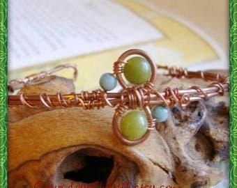 Jade Bracelet, Handmade Copper Bracelet, Wire Wrapped Jewelry, Copper Jewelry, Green Jade Cuff Bracelet, Handmade Jewelry