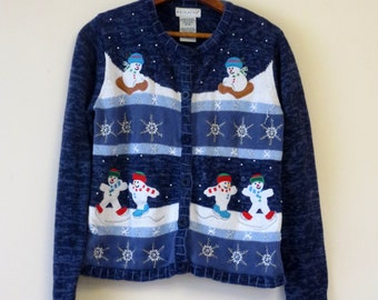 Vintage Ugly Christmas Sweater Cardigan Party Holidays Snowmen Blue and White Snowflakes