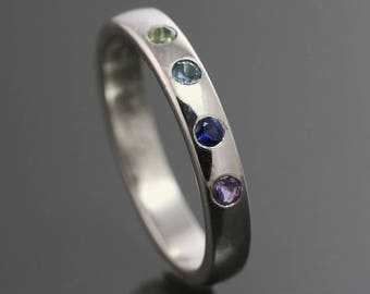 Mother's Ring / Grandmother's Ring / Family Ring. 4 Birthstones. Genuine Gemstone. Sterling Silver. Natural Stone. Flush Setting.