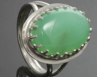 CLEARANCE. Chrysoprase Ring. Sterling Silver. Genuine Gemstone. Ready to Ship. Size 8. s13r004