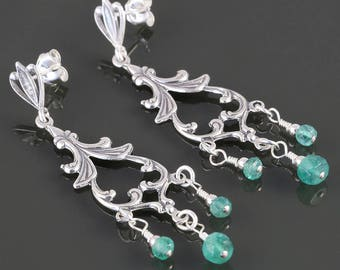 Emerald Chandelier Earrings. Sterling Silver. Genuine Emerald. May Birthstone. Dressy Earrings. Post Earrings. s17e064