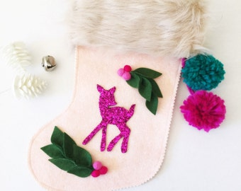 Pink Felt Christmas Stocking -  Pink and White Christmas- Vintage Stocking- Fawn - Woodland Stocking - Holly Berry -Oh Deer Glitter