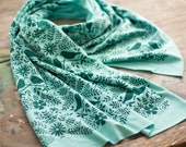 Soft green jersey-knit bamboo scarf with hand-printed Birdwatching floral pattern, eco friendly, sea green, made in maine, silkscreen, birds