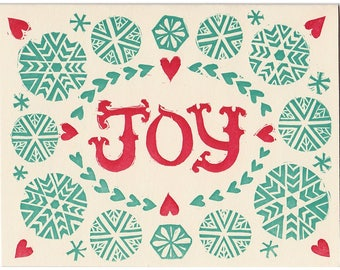 JOY block printed greeting card - blank inside, single card