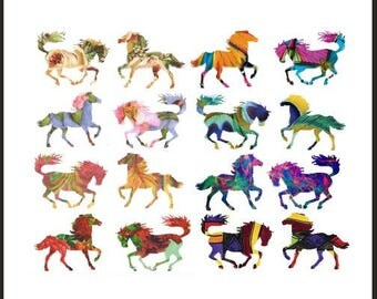 Altered Wild Horses - Digital Collage Sheet - Instant Download