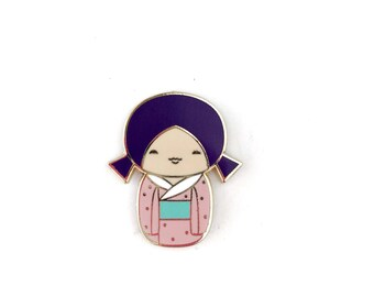 Kawaii Kokeshi Doll with Purple Pigtails • Hard Enamel Lapel Pin