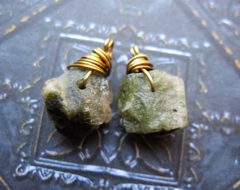 Raw Rough and Rugged Green Tourmaline Bead Charms - 1 pair - 15 and 17mm in length
