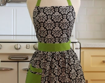 Apron Retro Black and White Floral Damask with Lime Green CHLOE