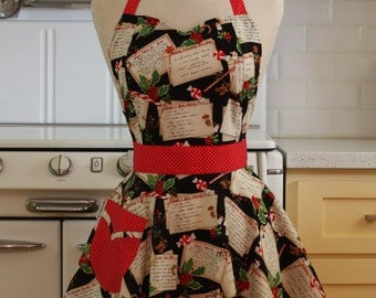 Retro Full Apron Christmas Recipes on Black BELLA Sweetheart Neckline