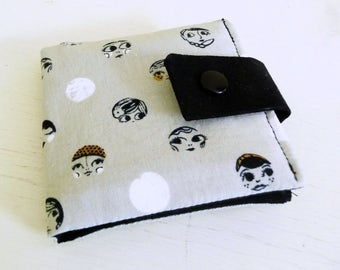 Cotton Print Snap Wallet with 6 card slots, Vegan Wallet, Ladies Night Faces Grey Black Metallic Fabric