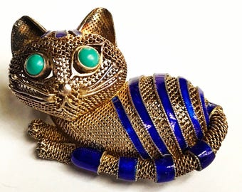 Vintage cat brooch. Chinese export. Kitten pin. Silver gilt and enamel