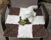 Cat Blanket, Cat Bed, Cat Quilt, Paw Print Blanket, Brown Cat Blanket, Handmade Cat Blanket, Colorado Catnip Bed, Cat Bedding Luxury Cat Bed