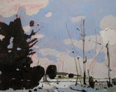 Afternoon Clearing, Original Winter Landscape Painting on Cradled Birch Panel, Ready to Hang, Stooshinoff