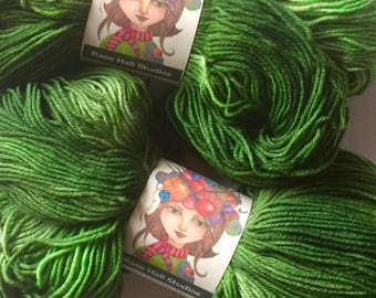Hand Dyed, Rich Grass Green Tonal Sock Yarn, Knitting, Crochet, Indie Dyer, Superwash Fingering Weight 462 Yards