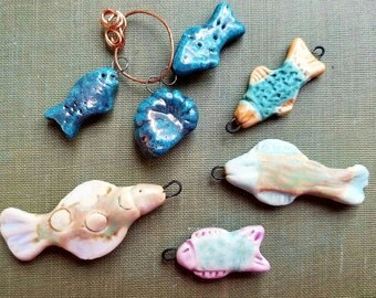 Handmade Fish Pendants  Turquoise  Going Out of business De-stash Sale