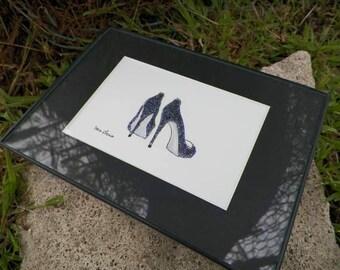 Dark Gray Sparkle High Heel Shoes Wedding Showers Gifts Fashion Inspired Art Original Painting by Artist Debra Alouise