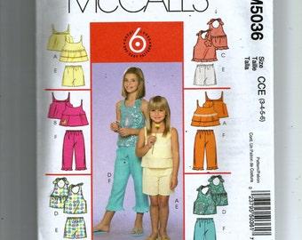 McCall's Girls' Tops, Shorts and Capri Pants Pattern 5036