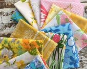 40% OFF- Floral Cloth Napkins-Vintage Flowers-Upcycled Linens