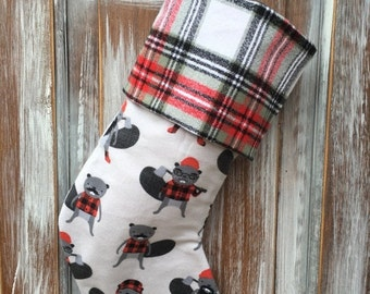 FLASH SALE- Flannel Beaver Stocking -Christmas Stocking-Burly Beaver