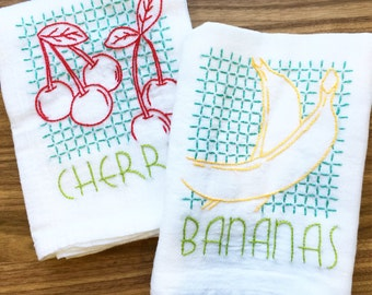 Vintage Fruit Hand Embroidered Dish Towels - Bananas/Cherries