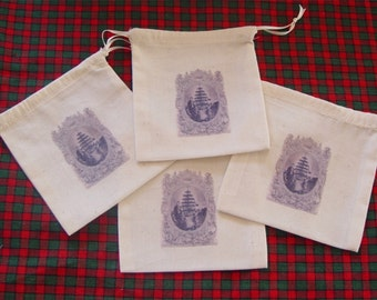 4 Party Favor Bags, Christmas Tree, Prince Albert, Queen Victoria, black and white