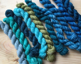 Blues and greens - 10 mini skeins
