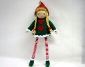 Elf Doll,  Kindness Elf Bendy Doll,  Large 6 inch,  Waldorf Felt Bendable Doll-  Christmas Elf Girl,  Kindness Elf Holiday Tradition
