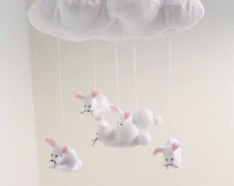 Nursery mobile - felt bunnies and cloud