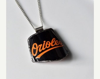 ON SALE Broken Plate Pendant on Chain - Baltimore ORIOLES - Recycled China