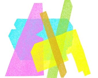 Bright Pink, Blue, Green, Yellow, Gold Jumble: Modern Geometric Art Print