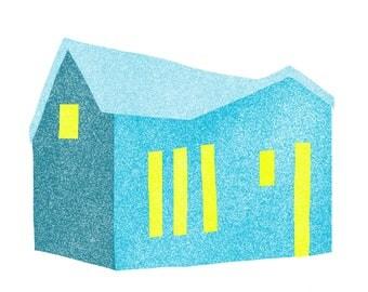 Blue House, Yellow Windows: Modern Minimalist Art Print - Home
