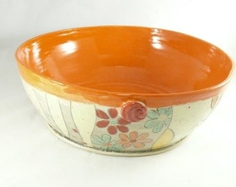 Large Ceramic Pasta Serving Bowl, Wedding Couples Gift, Kitchen Decor, Orange Pottery Bowl, Anniversary Gift, Gift for women 610