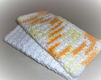 Dish Cloths -  A set of 2 Hand Crochet Dish/Wash/Face Cloths - White and Multicolor - Gift Idea - Kitchen Accessories - House Warming Gift