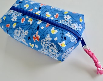 Boxy Cosmetic Pouch  - Boxy Zipper Pouch - Blue Make up bag - Boxy Make up Bag - Blue Floral Pouch - Gift for Teen Girls - Teacher gift