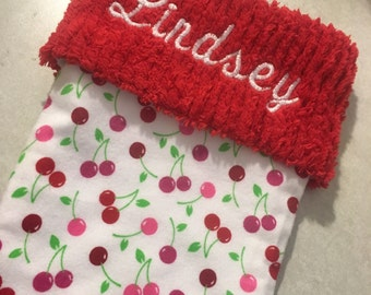 Flannel Cherries and Chenille Handmade Christmas Stocking with FREE US SHIPPING