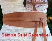 SAMPLE SALE!!! Leather reversible distressed tobacco -  bonus colorful floral print fabric - Small / Medium - 3 inch wide obi style sash