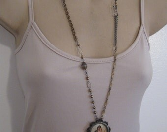 Madonna and Child, long chain, rosary, religious necklace, soldered pendant,  Mary and Jesus, boho, Catholic, ooak, cross, mixed chains,